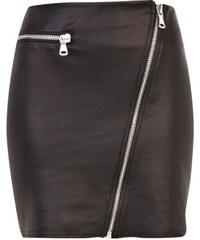 LA FEMME Černá sukně s asymetrickým zipem