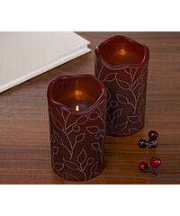 Tchibo, Svíčky z pravého vosku s LED, 2 ks, bordó Bordó s motivem větviček