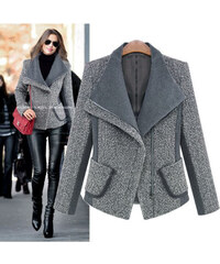 Dámský vlněný kabátek - vlněné sako zimní šedé