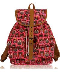 L&S Fashion (Anglie) Batoh LS00269C růžový se sovami 25l