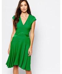 Reiss Skater Dress in Emerald Print - Green