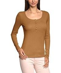 edc by ESPRIT Damen Slim Fit Langarmshirt mit Knopfleiste, Einfarbig