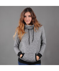 Urban Classics Ladies High Neck Hoody melange černá