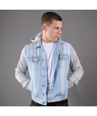 Urban Classics Hooded Denim Fleece Jacket light blue