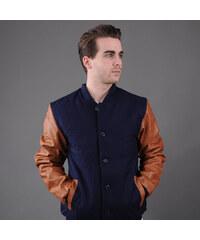 Urban Classics Wool Leather Button Jacket navy / hnědá