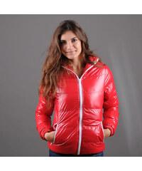 Urban Classics Ladies Shiny Bubble Jacket červená / bílá