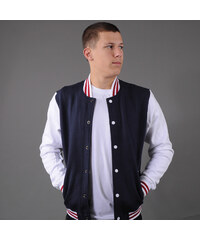 Urban Classics 3-Tone College Sweatjacket navy / bílá / vínová