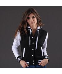 Urban Classics Ladies Hooded College Sweatjacket černá / bílá