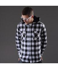 Urban Classics Hooded Checked Flanell Shirt černá / bílá