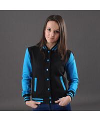 Urban Classics Ladies 2-Tone College Sweatjacket černá / tyrkysová