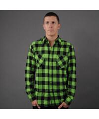 Urban Classics Checked Flanell Shirt černá / limetková