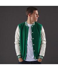 Urban Classics Oldschool College Jacket zelená / bílá