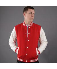 Urban Classics Oldschool College Jacket červená / bílá