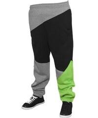 Urban Classics Zig Zag Sweatpants šedé / černé / limetkové