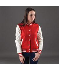 Urban Classics Ladies Oldschool College Jacket červená / bílá