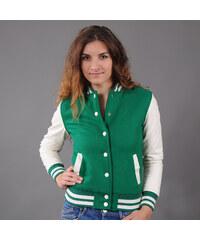 Urban Classics Ladies Oldschool College Jacket zelená / bílá
