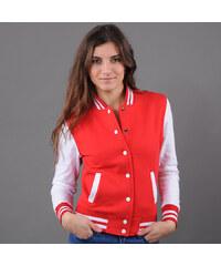 Urban Classics Ladies 2-Tone College Sweatjacket červená / bílá