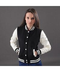 Urban Classics Ladies Oldschool College Jacket černá / bílá