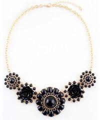 Elegantní náhrdelník s černýmí kamínky a květy