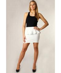 TopMode Dámská sukně s volánkem vysoký pas bílá
