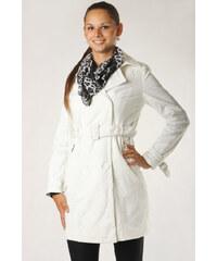 TopMode Dámský jarní stylový kabátek s imitací krajky bílá