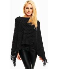 LM moda Dámské poncho, pončo černé jednobarevné elegantní s třásněmi