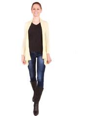 TopMode Dámský zeštíhlující módní kardigan na zavazování žlutá