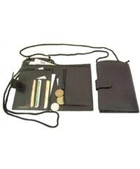 Arwel černé kožené pouzdro na doklady s popruhem a zápinkou