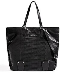 Guess Kabelka Perforated Leather Tote černá