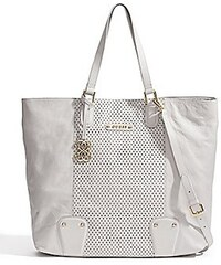 Guess Kabelka Perforated Leather Tote bílá