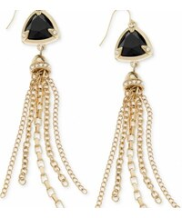 Guess Náušnice Gold-Tone Black Triangle Chain Fringe Drop Earrings