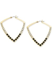 Guess Náušnice Gold-Tone Black Stone Triangle Hoop Earrings