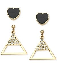 Guess Náušnice old-Tone Black Heart and Triangle Earring Set
