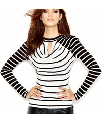 Guess Svetr Long Sleeve Mock Turtleneck Striped Top, velikost XS