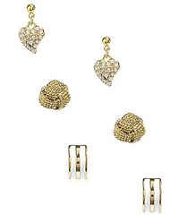 Guess Náušnice Three Pair Gold Tone Stud Earring Set
