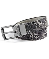 Guess Pásek Logo-Print Denim And Metallic Reversible Belt