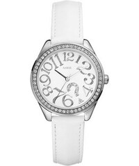 Guess Hodinky Quiz White Leather Strap Watch