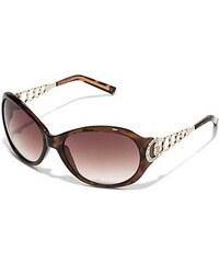 Guess Sluneční brýle Plastic And Metal Round Sunglasses hnědé