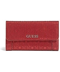 Guess Peněženka Delaney Textured Logo Slim Clutch