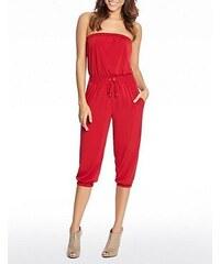Guess Overal Harlette Capri Jumpsuit červený