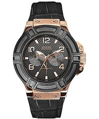 Guess Hodinky Black and Rose-Gold Tone Rigor®Standout Sport Casual Watch