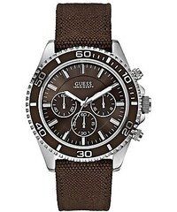 Guess Hodinky Silver-Tone and Brown Sportwise Chronograph Watch