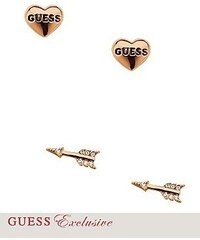 Guess Náušnice Set of 2 Rose gold Heart Arrow