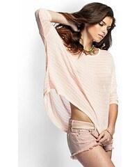 Guess Halenka Open Knit Basic Striped růžová