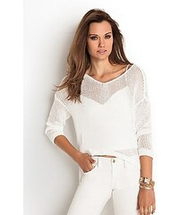Guess Svetr High-Low Chunky Sweater bílý