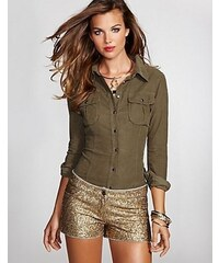 Guess Košile Natalie Corduroy Long-Sleeve Shirt zelená