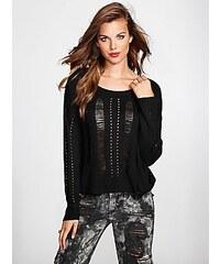 Guess Svetr Long-Sleeve Shredded Crop Sweater černý