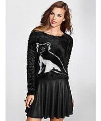 Guess Svetr Fuzzy Intarsia Sweater černý