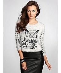 Guess Svetr Fuzzy Intarsia Sweater šedý