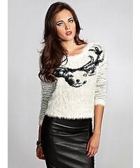 Guess Svetr Fuzzy Intarsia Sweater bílý
